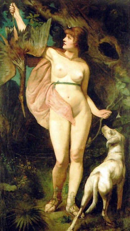 Diana, goddess of the hunt and the moon, Hans Makart