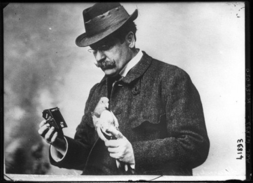 Julius Neubronner, who invented a camera to take aerial photographs using pigeons (he was an apothecary and also used pigeons to deliver medicine). All Neubronner photos courtesy of retronaut.com